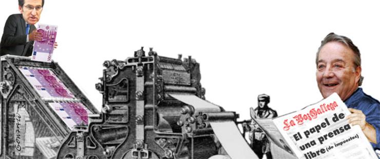 'Feijóo alimenta a máquina de Santiago Rey'. Gonzalo Vilas fixo esta ilustración para a reportaxe do Novas da Galiza e o GC sobre as axudas aos medios.