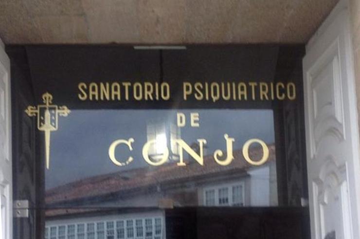 Cartel de entrada do Psiquiátrico de Conxo en Santiago