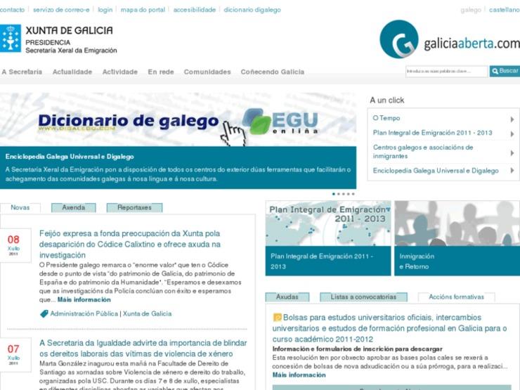 Portal web Galicia Aberta da Xunta