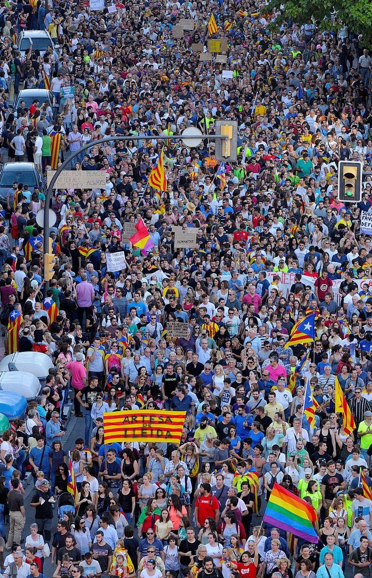 Manifestación en Lleida tralo referendo de independencia