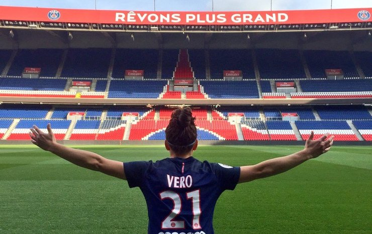 Vero Boquete, no estadio do PSG francés. / @veroboquete