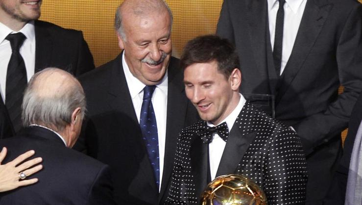 Del Bosque con Lionel Messi