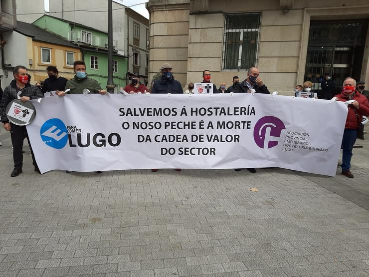 Protesta de hostaleiros en Lugo. / Europa Press