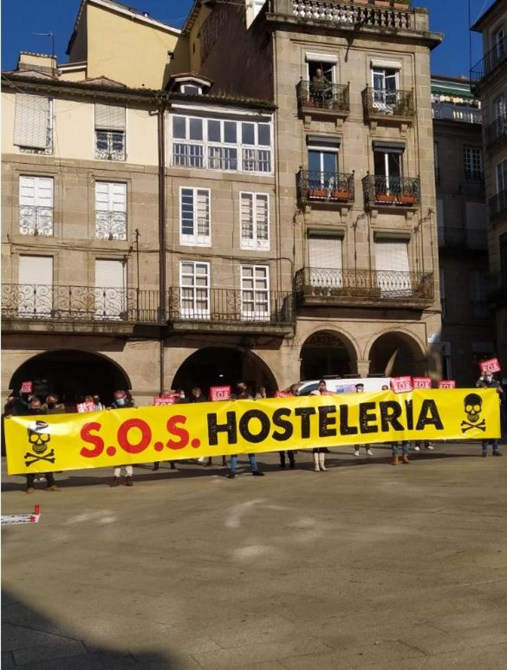 Protesta de hostaleiros en Ourense. / Europa Press