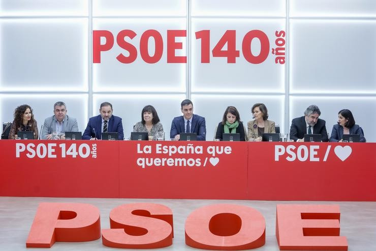 Pedro Sánchez, á fronte da executiva do PSOE. Ricardo Rubio - Europa Press - Arquivo / Europa Press
