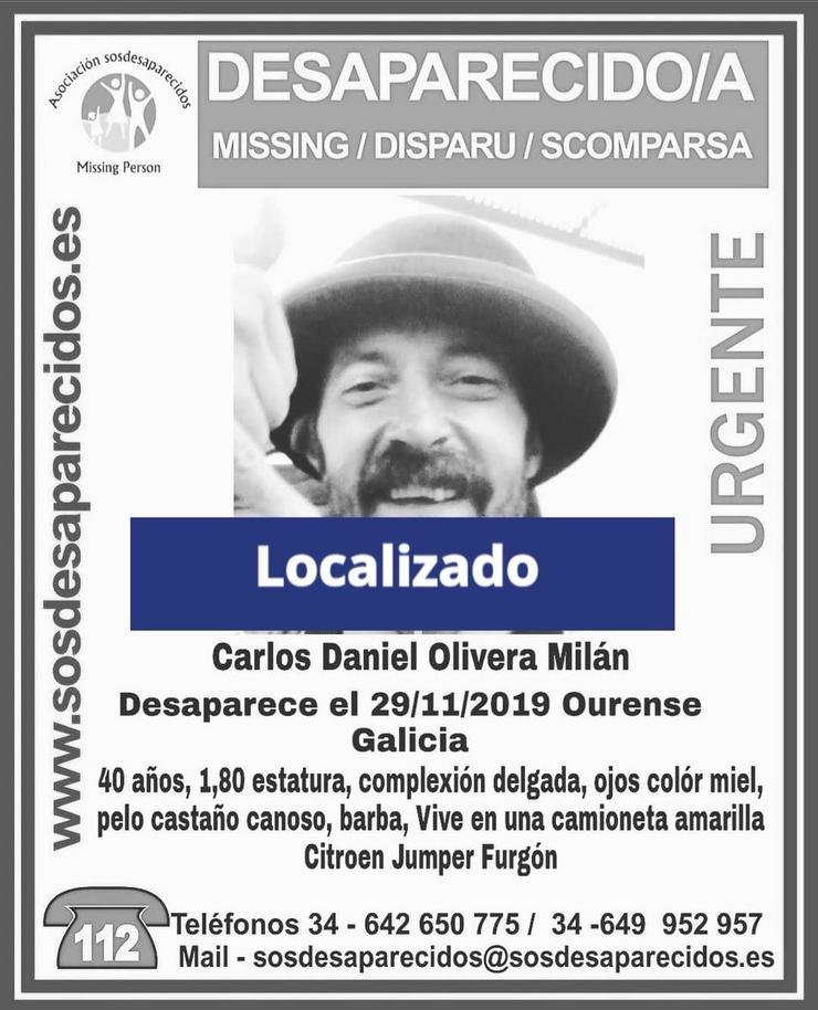Cartel do aviso de desaparición do home Carlos Daniel Olivera Milán.. SOS DESAPARECIDOS / Europa Press