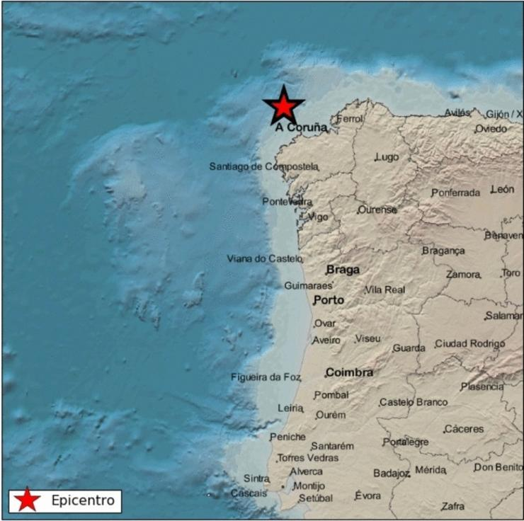 Epicentro do tremor na costa noroeste de Galicia. INSTITUTO XEOGRÁFICO NACIONAL / Europa Press
