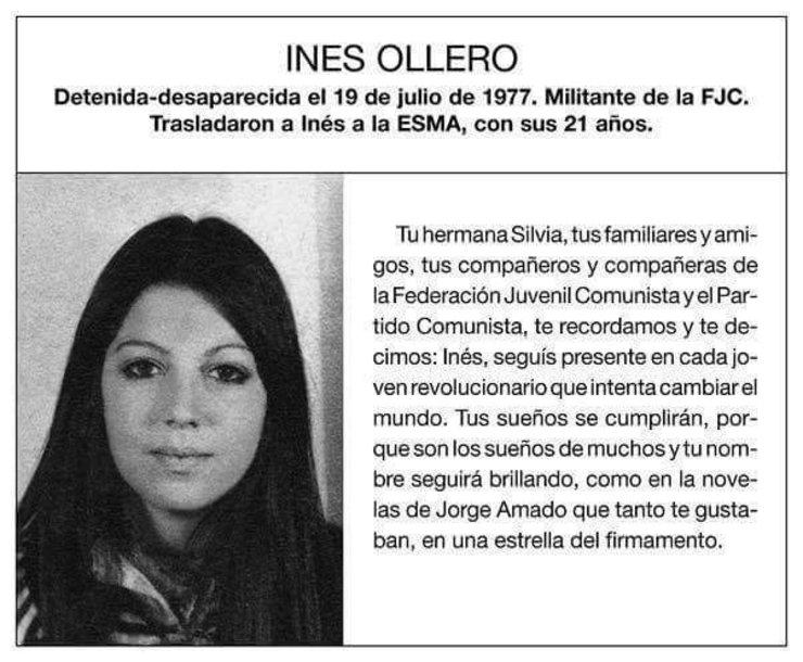 Inés Ollero, de orixe galega, desaparecida durante a Ditadura Arxentina