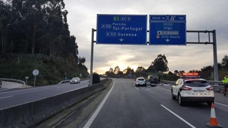 Lugar no que se produciu o accidente na AP-9. GUARDIA CIVIL DE PONTEVEDRA / Europa Press