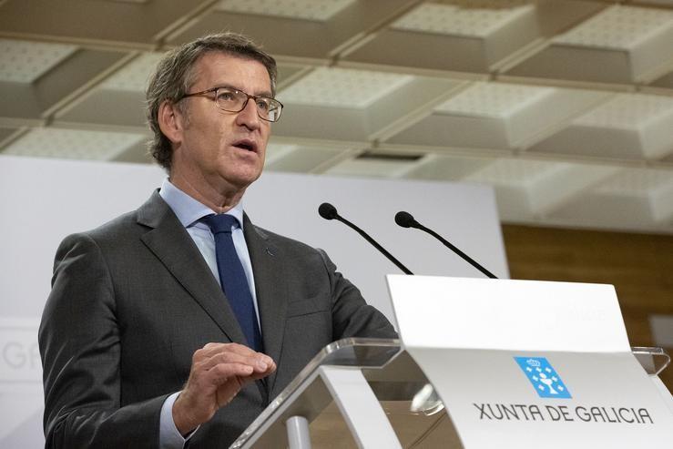 O presidente da Xunta, Alberto Núñez Feijóo, en rolda de prensa.. XUNTA