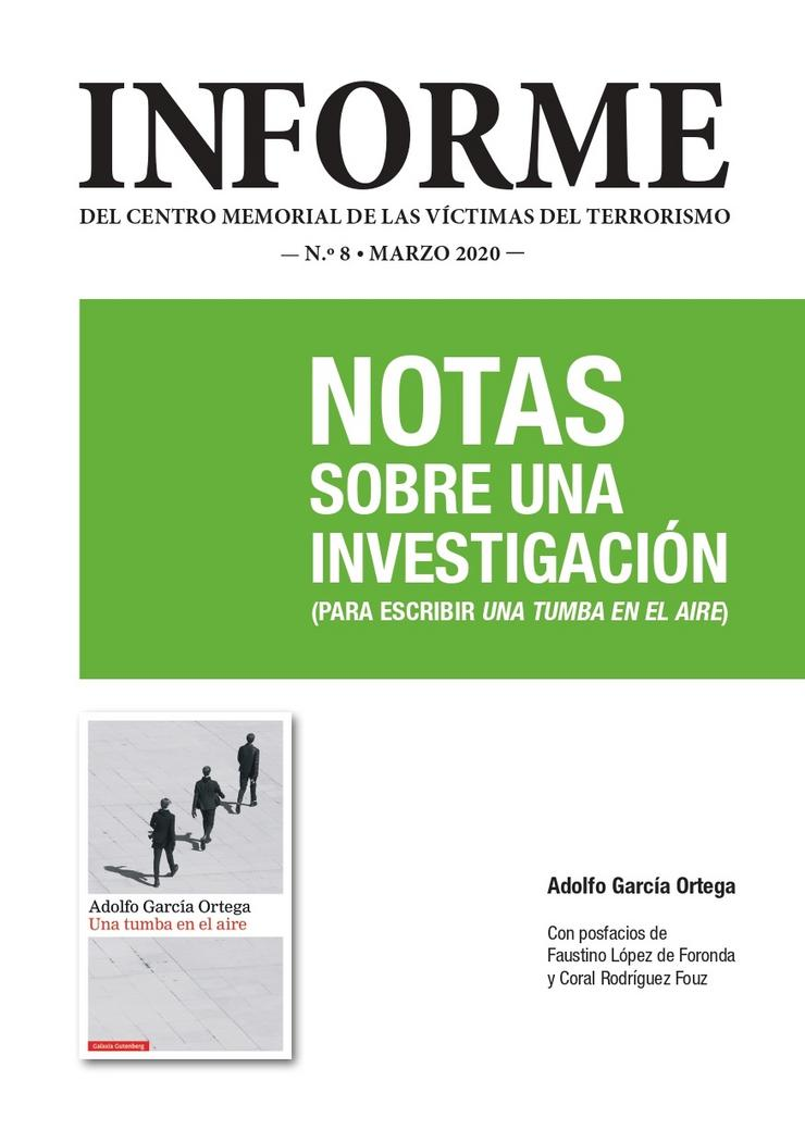 Portada do oitavo informe do Centro Memoria das Vítimas do Terrorismo. CENTRO MEMORIAL DAS VÍTIMAS DO TERRORISMO / Europa Press