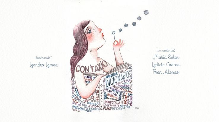 'Contaxio', escrito por María Solar, Ledicia Costas e Fran Alonso. Ilustración feita por Leandro Lamas.