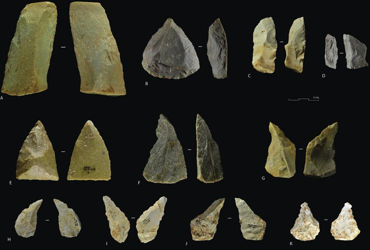 Ferramentas atopadas no xacemento de Gran Dolina, en Atapuerca / Lombera Hermida, A., et al. (2020). The dawn of the Middle Paleolithic in Atapuerca: The lithic assemblage of TD10.1 from Gran Dolina. Journal of Human Evolution, 145.